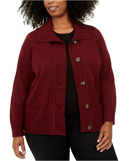 Karen Scott Plus Size Marled Wing-Collar Cardigan, Created For Macy's