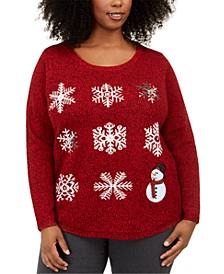 Plus Size Snowman Graphic Sweater, Created For Macy's