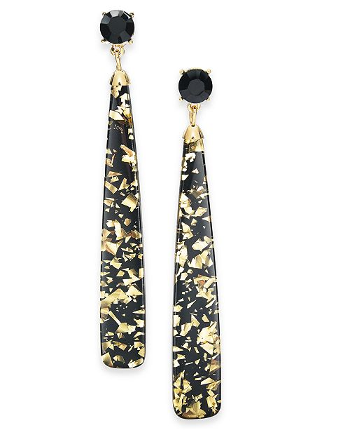 INC International Concepts INC Gold-Tone Stone & Glitter Resin Linear Drop Earrings, Created For Macy's