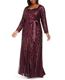 Plus Size Godet Sequin Gown