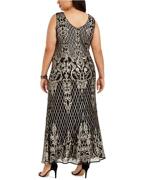 Plus Size Gold-Tone Sequin Gown