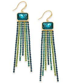 INC Gold-Tone Multi-Rhinestone Fringe Linear Drop Earrings, Created For Macy's