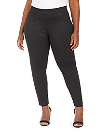 Plus Size Twill Seamed Leggings