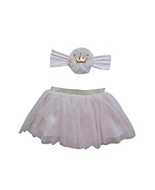Popatu Baby Girl Dusty Tutu with Gold Crown Headband