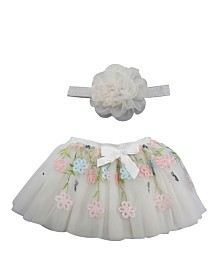 Popatu Baby Girl Tutu with Embroider Flower Overlay and Flower Headband