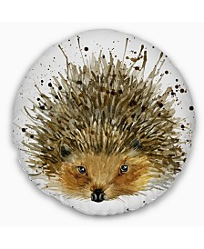 "Designart Hedgehog Illustration Watercolor Contemporary Animal Throw Pillow - 16"" Round"