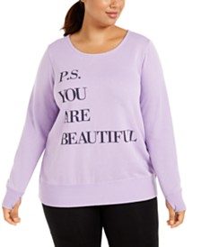 Ideology Plus Size You Are Beautiful Graphic Sweatshirt