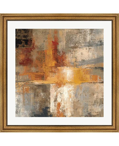 """Metaverse Silver and Amber Crop by Silvia Vassileva Framed Art, 32"""" x 32"""""""