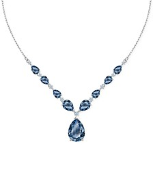 "Silver-Tone Blue Montana Crystal Frontal Necklace, 16-1/2"" + 2"" extender"