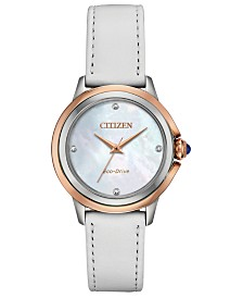 Citizen Eco-Drive Women's Ceci Diamond-Accent White Leather Strap Watch 32mm