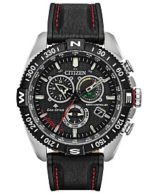 Citizen Eco-Drive Men's Chronograph Promaster Navihawk Black Leather Strap Watch 44mm