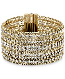 Gold-Tone Ball-Chain & Crystal Wide Flex Bracelet
