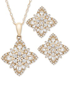 "2-Pc. Set Diamond Flower Cluster 20"" Pendant Necklace and Matching Stud Earrings (1 ct. t.w.) in 14k Gold, Created for Macy's"