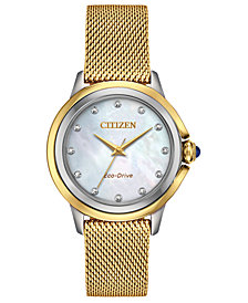 Citizen Eco-Drive Women's Ceci Diamond-Accent Gold-Tone Stainless Steel Mesh Bracelet Watch 32mm