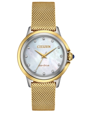 Eco-Drive Women's Ceci Diamond-Accent Gold-Tone Stainless Steel Mesh Bracelet Watch 32mm