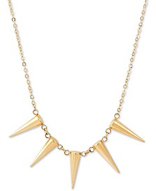 "Five Spike Frontal Necklace 17"" in 14k Gold"