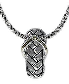 """EFFY® Flip Flop Sandal 16"""" Pendant Necklace in Sterling Silver & 18k Gold"""