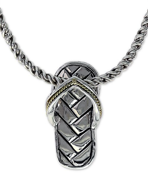 "EFFY Collection EFFY® Flip Flop Sandal 16"" Pendant Necklace in Sterling Silver & 18k Gold"