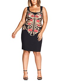 Trendy Plus Size Rose Amore Fitted Dress