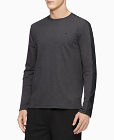 Calvin Klein Men's Mixed-Media Shoulder-Stripe Shirt