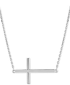 "East-West Cross Pendant Necklace in 14k White Gold, 17"" + 2"" extender"