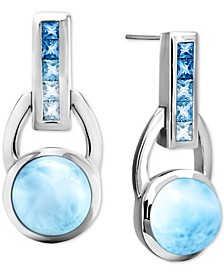 Larimar (8mm) & Blue Topaz (2-5/8 ct. t.w.) Drop Earrings in Sterling Silver