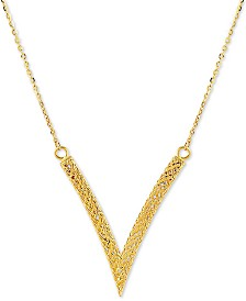"Mesh Chevron 18"" Pendant Necklace in 14k Gold"