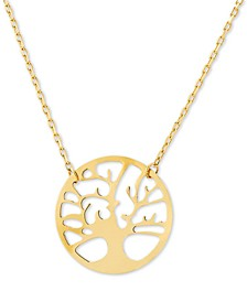 """Family Tree 17"""" Pendant Necklace in 14k Gold"""