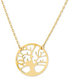 "Family Tree 17"" Pendant Necklace in 14k Gold"