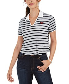 Juniors' Cropped Polo Top
