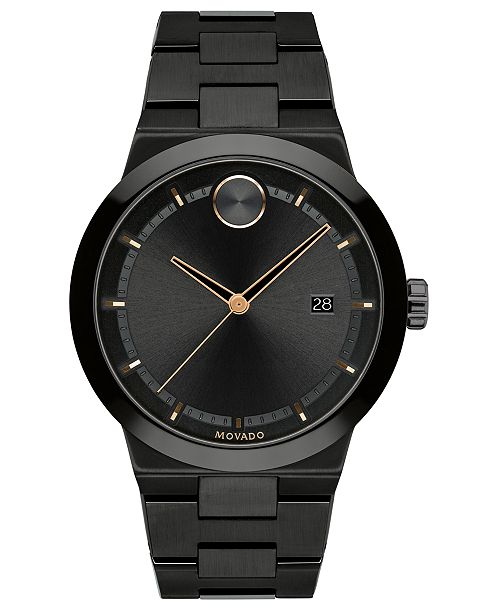 Movado Men's Swiss Bold Black Ion-Plated Stainless Steel Bracelet Watch 34mm