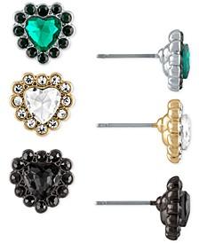 Tri-Tone 3-Pc. Set Stone Heart Stud Earrings