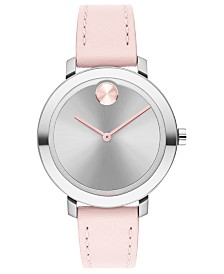 Movado Women's Evolution Swiss Bold Pink Leather Strap Watch 26mm
