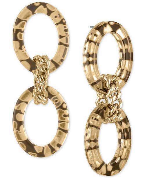 RACHEL Rachel Roy Gold-Tone Animal Print Double Link Drop Earrings
