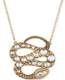 "Gold-Tone Crystal Snake Pendant Necklace, 18-1/2"" + 2"" extender"