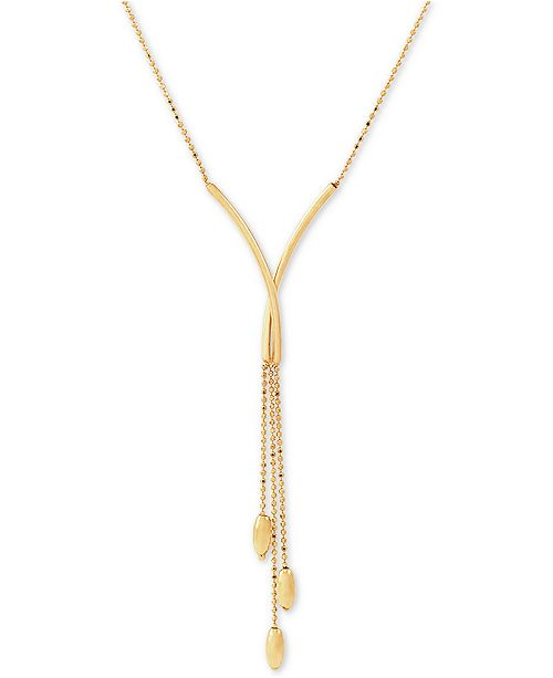 """Macy's Polished Bead Tassel 17"""" Lariat Necklace in 14k Gold"""