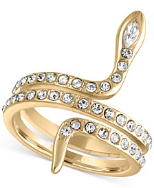 Gold-Tone Pavé Snake Wrap Ring