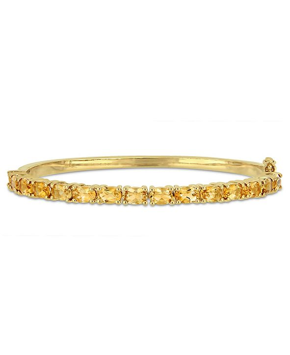 Macy's Oval-Cut Citrine (6-3/4 ct. t.w) Bangle in 18k Yellow Gold Over Sterling Silver
