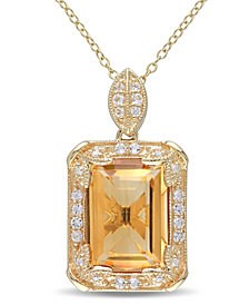 """Citrine (6-1/4 ct. t.w.), White Topaz (1/2 ct. t.w.) and Diamond Accent Halo 18"""" Necklace in 18k Yellow Gold Over Sterling Silver"""