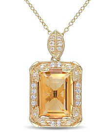 "Citrine (6-1/4 ct. t.w.), White Topaz (1/2 ct. t.w.) and Diamond Accent Halo 18"" Necklace in 18k Yellow Gold Over Sterling Silver"