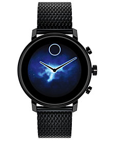 Movado Connect 2.0 Black Stainless Steel Mesh Bracelet Touchscreen Smart Watch 42mm
