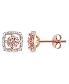 Morganite (1 ct. t.w.) and Diamond (1/20 ct. t.w.) Square Stud Earrings in 10k Rose Gold