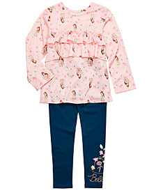 Disney Little Girls 2-Pc. Ruffled Belle Top & Leggings Set
