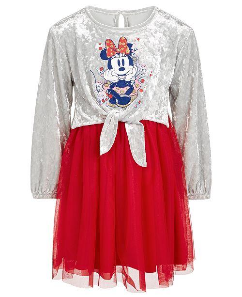 Disney Little Girls Minnie Mouse Velvet & Mesh Dress