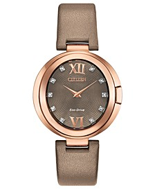 Eco-Drive Women's Capella Diamond-Accent Brown Leather Strap Watch 34mm