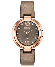 Citizen Eco-Drive Women's Capella Diamond-Accent Brown Leather Strap Watch 34mm