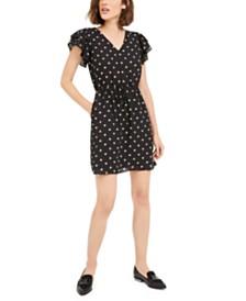 Maison Jules Heart-Print Flutter-Sleeve Dress