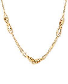 "Italian Gold Polished Oval Interlocking Link 17"" Statement Necklace in 10k Gold"