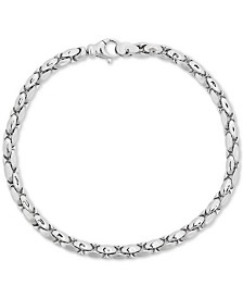 Polished Wheat Link Chain Bracelet in Sterling Silver