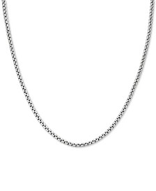 """Rounded Box Link 22"""" Chain Necklace in Sterling Silver"""